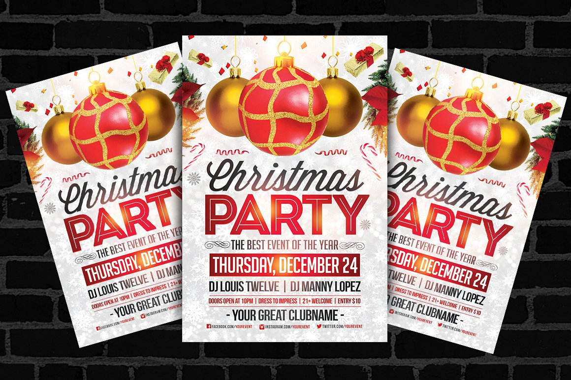 Free Printable Christmas Party Flyer Templates