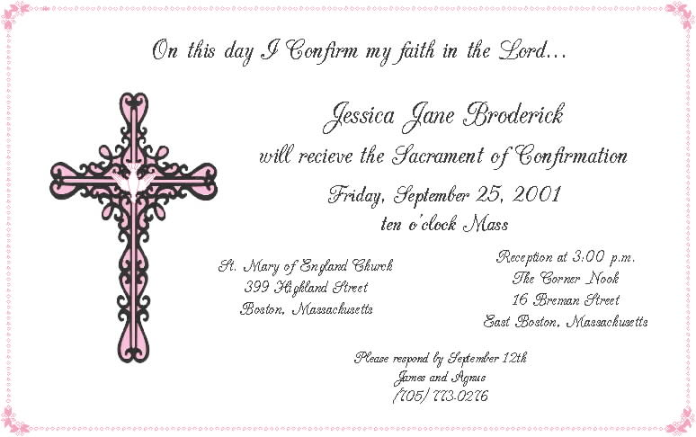 free printable confirmation invitations template confirmation invitations templates