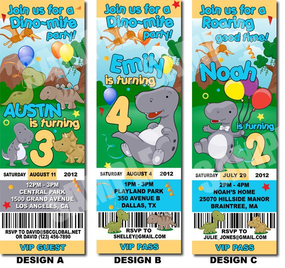 Free Printable Dinosaur Birthday Invitation Templates