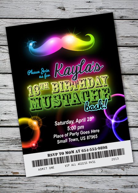 Free Printable Glow Party Invitations