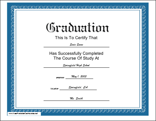Free Printable Graduation Certificate Templates