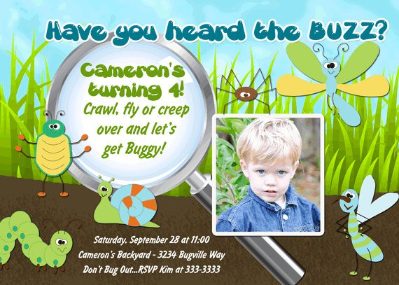 Free Printable Insect Birthday Invitations