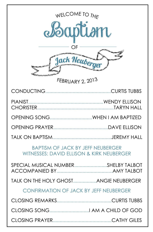 Free Printable Lds Baptism Programs