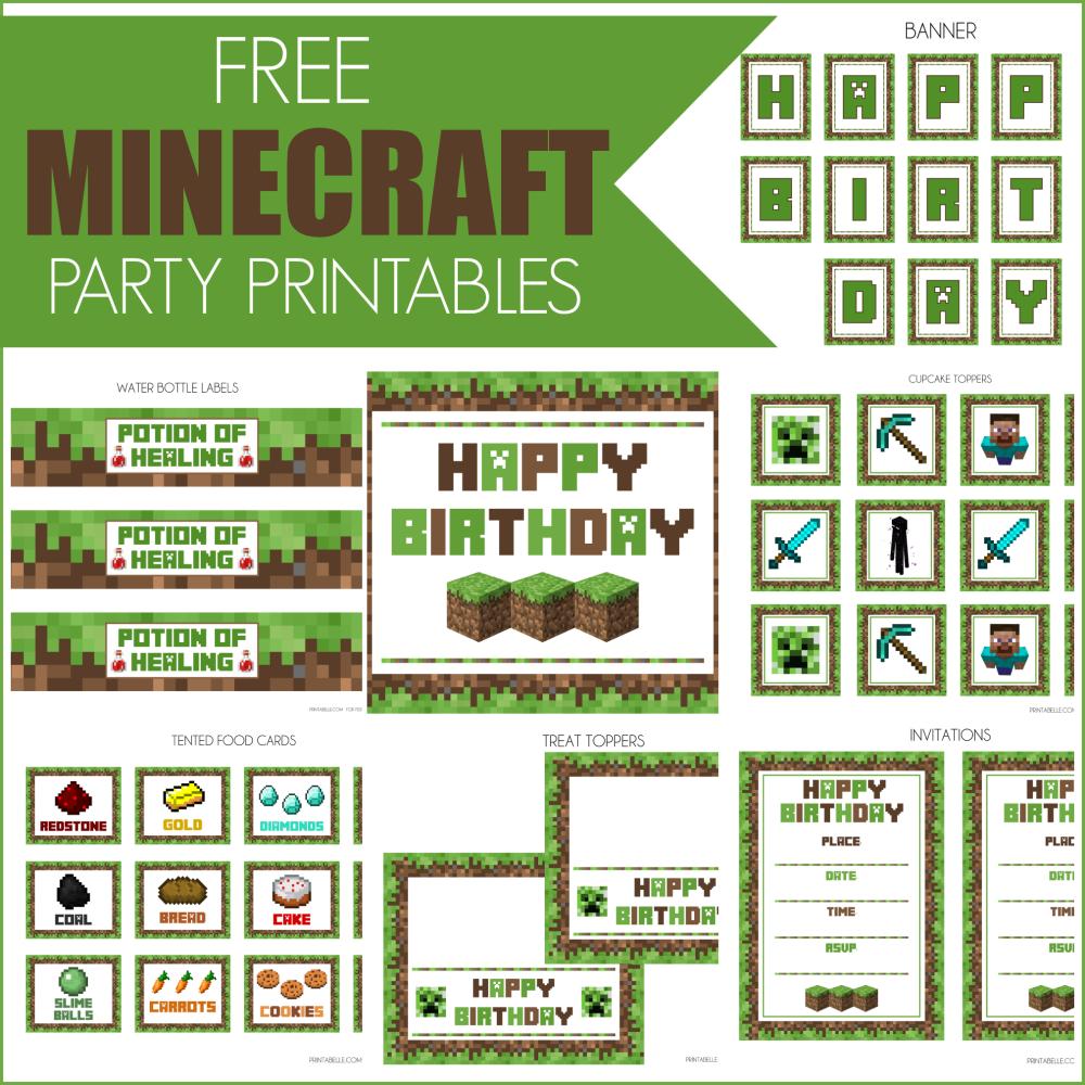 Free Printable Minecraft Birthday Party Invitations Templates