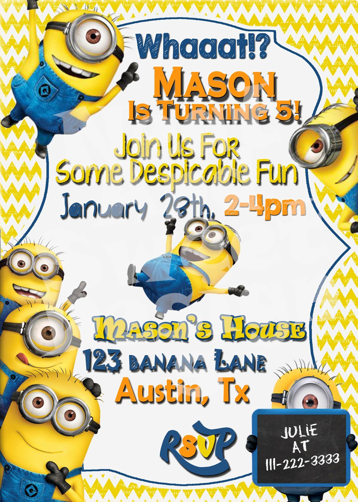 Free Printable Minion Birthday Party Invitations