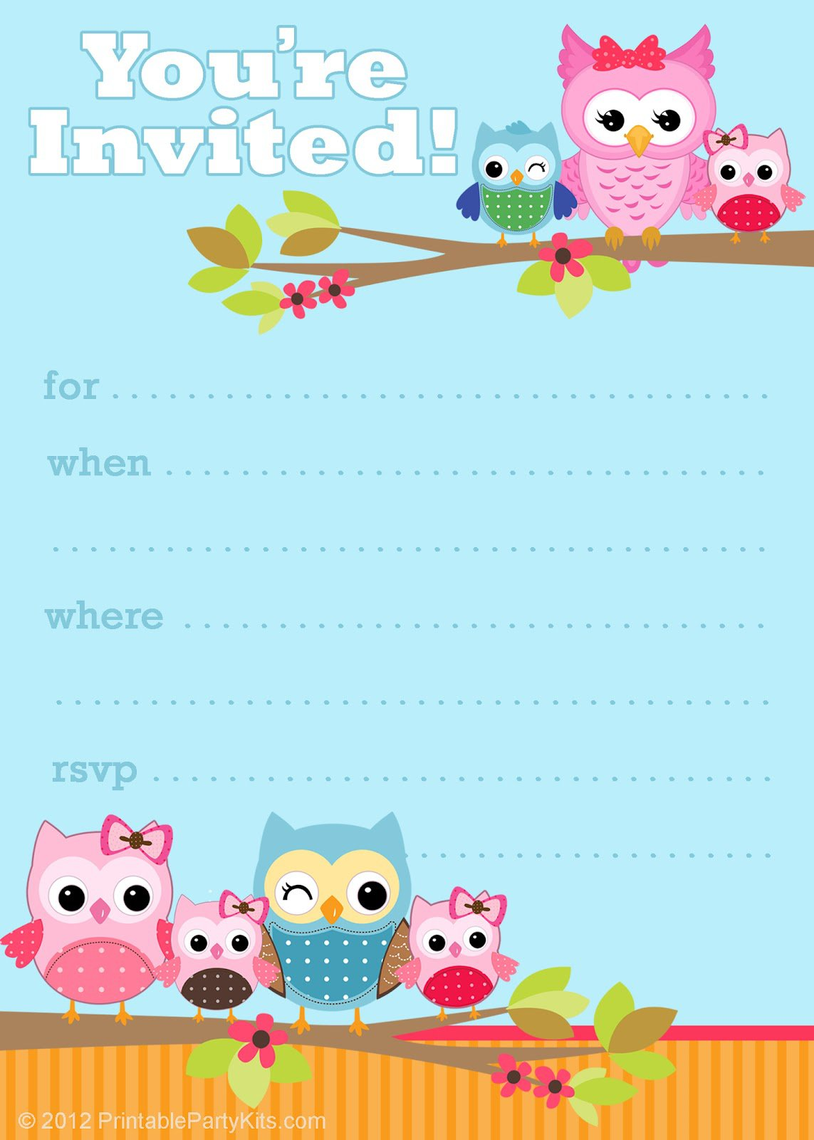 Free Printable Owl Party Invitations