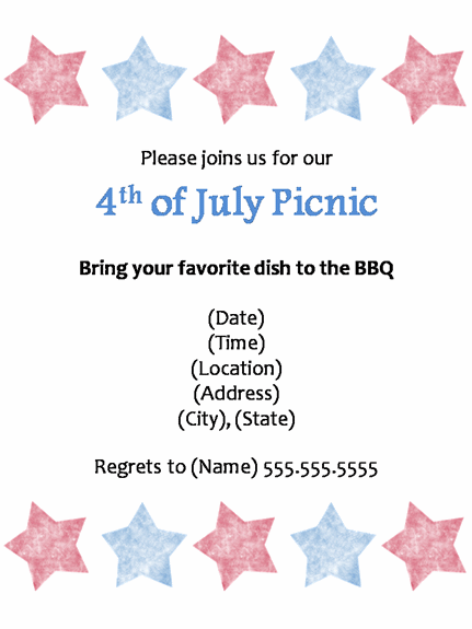 4th of july menu template - printable potluck invitations
