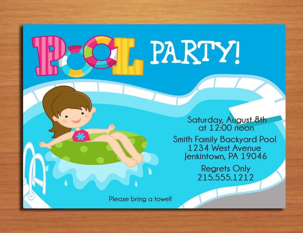 Free Printable Swimming Pool Birthday Party Invitations