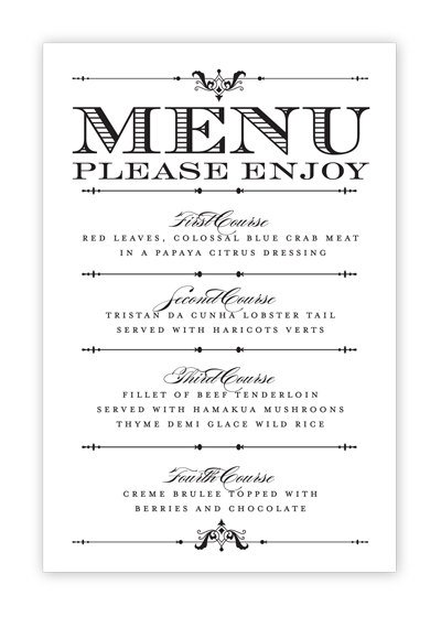 Free printable wedding menu templates for Wedding menu cards templates for free