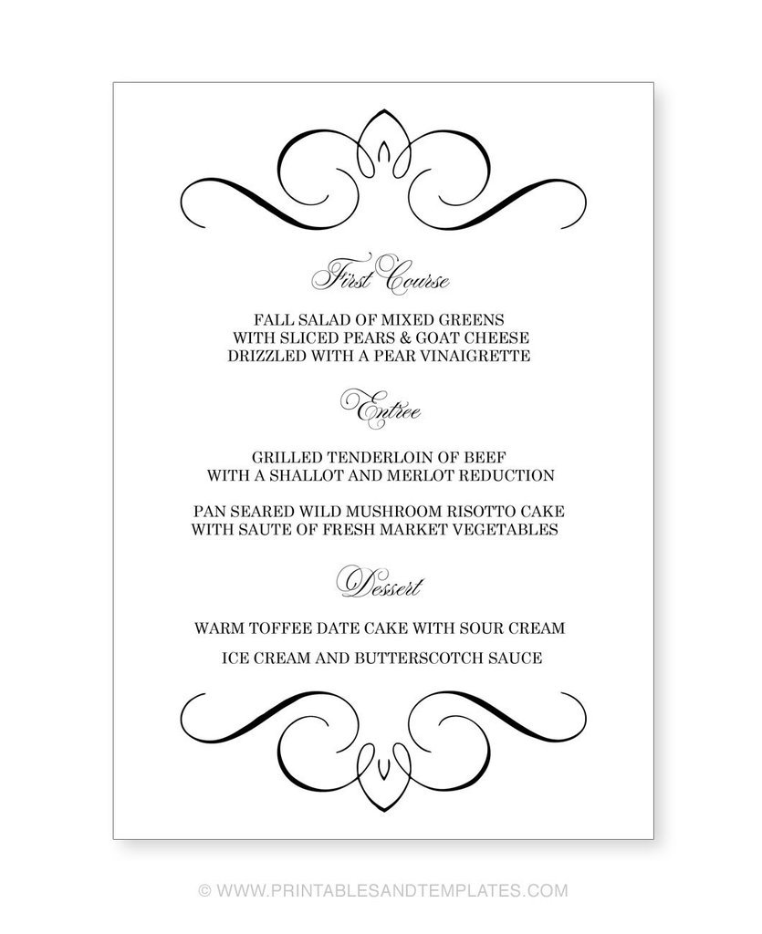 Superior Fancy Dinner Menu Template Regarding Free Menu Templates Printable