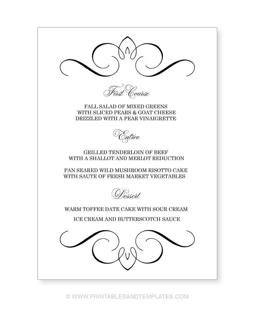 Free Printable Wedding Menu Templates