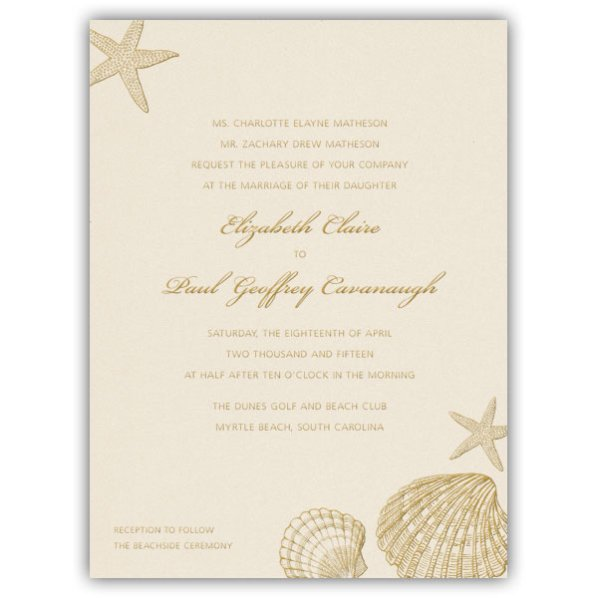 Free Seashell Wedding Invitation Templates