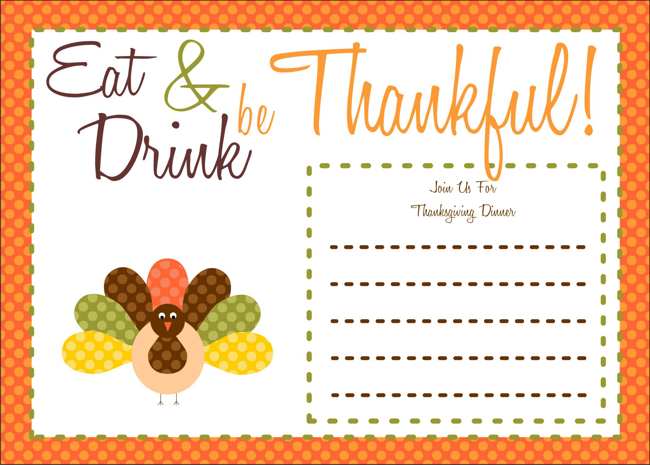 Free Thanksgiving Day Invitation Templates