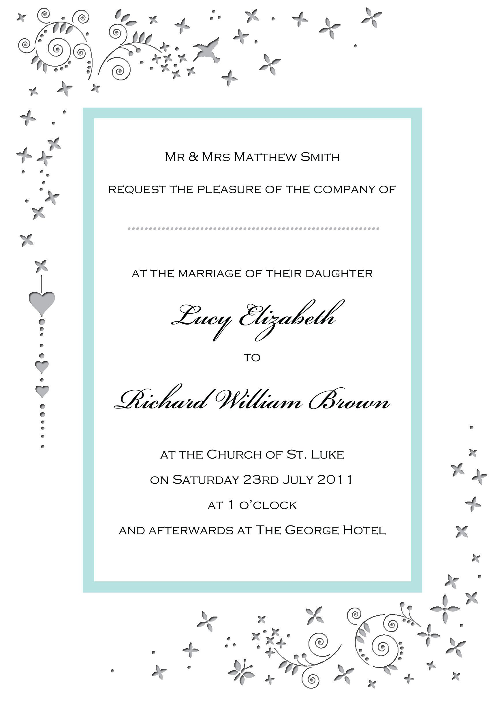 Free Wedding Invitation Card Templates