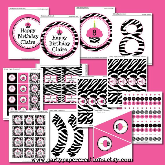 Free Zebra Print Party Printables