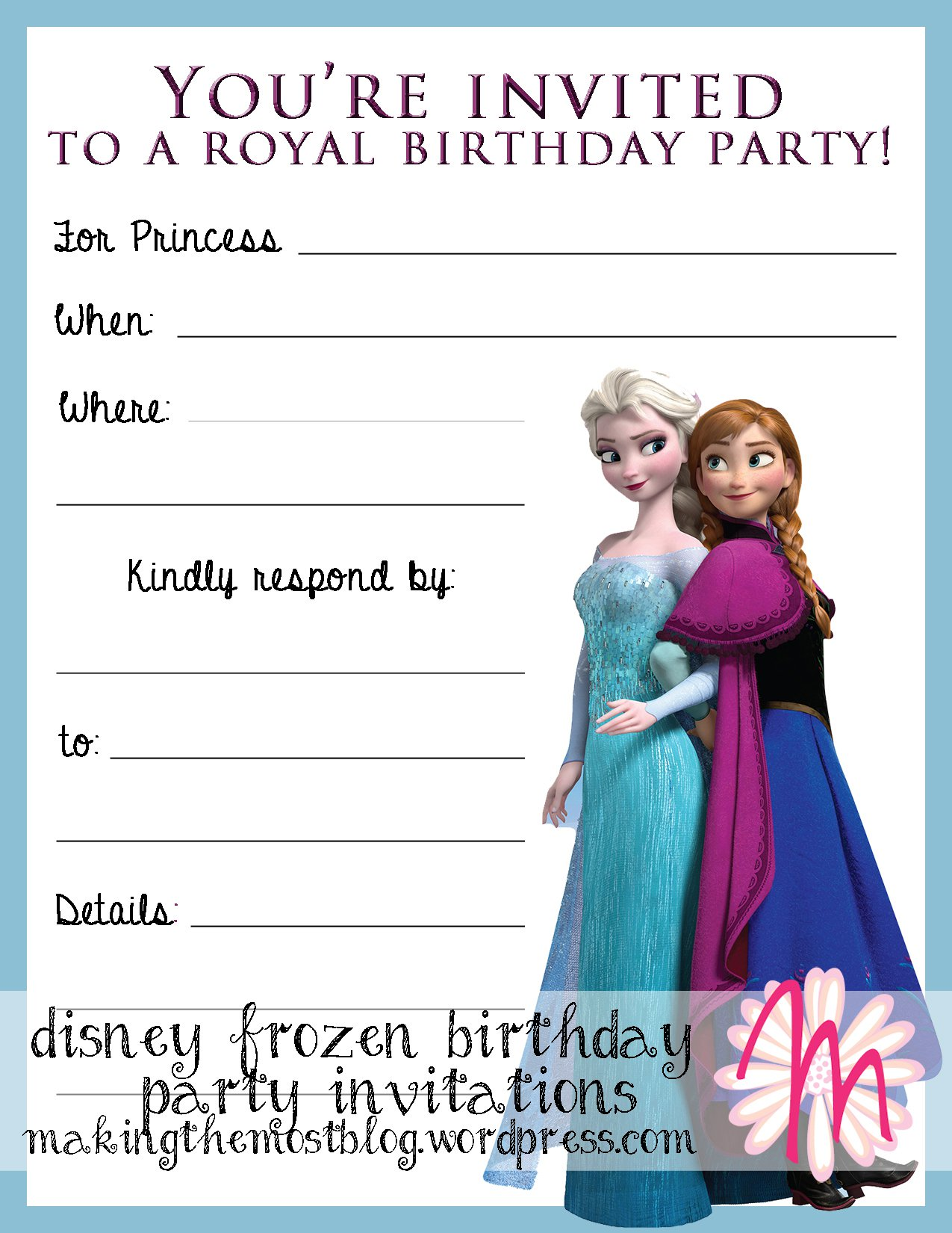 Frozen Printable Party Invitations