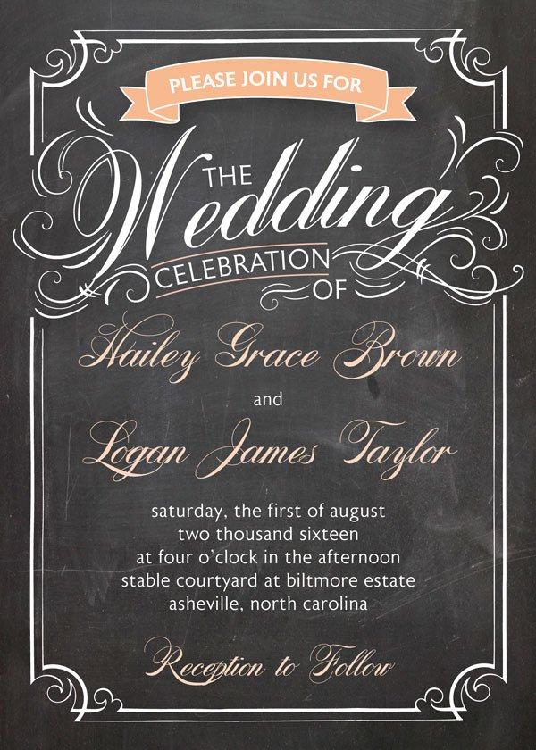 Funny Wedding Invitations Chalkboard