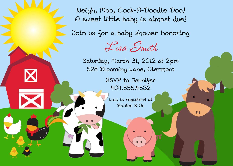 Girl Farm Animal Birthday Invitations