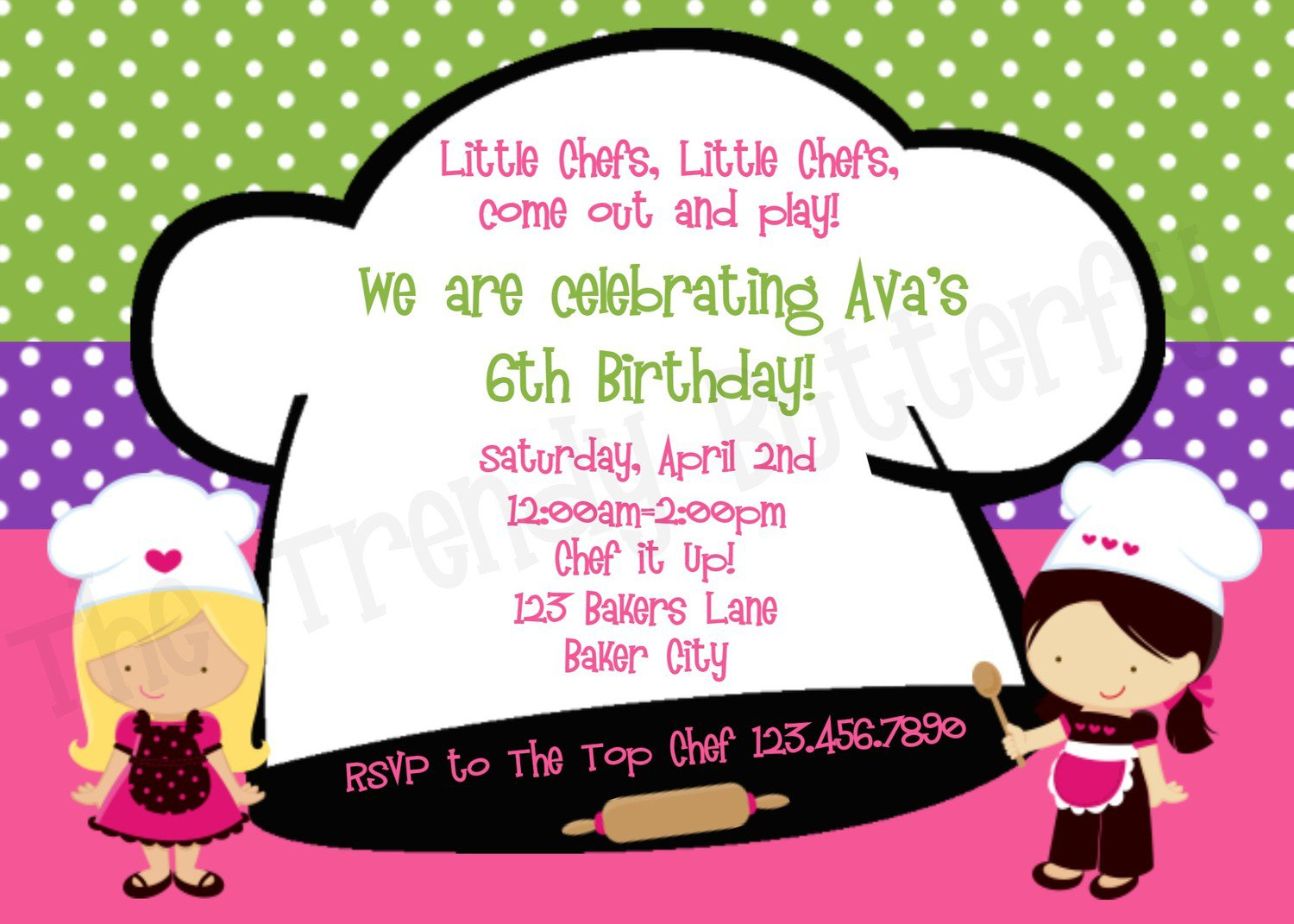 Girls Cooking Party Invitations