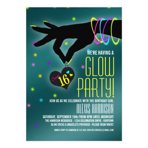 Glow Party Invitation Wording