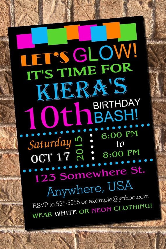 Glow Party Invitations Free Printable