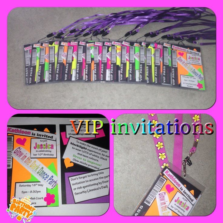 Glow Party Invitations Vip