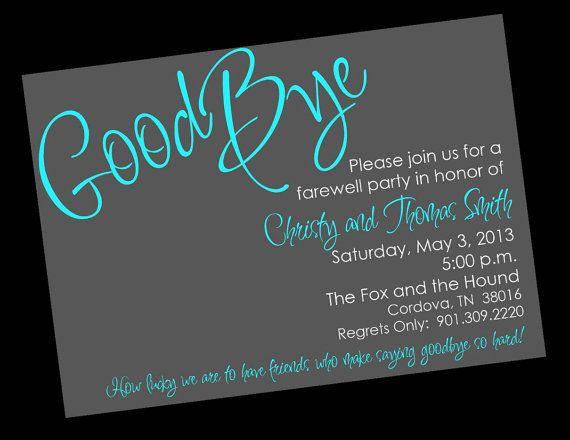 Going Away Sayings For Invitations