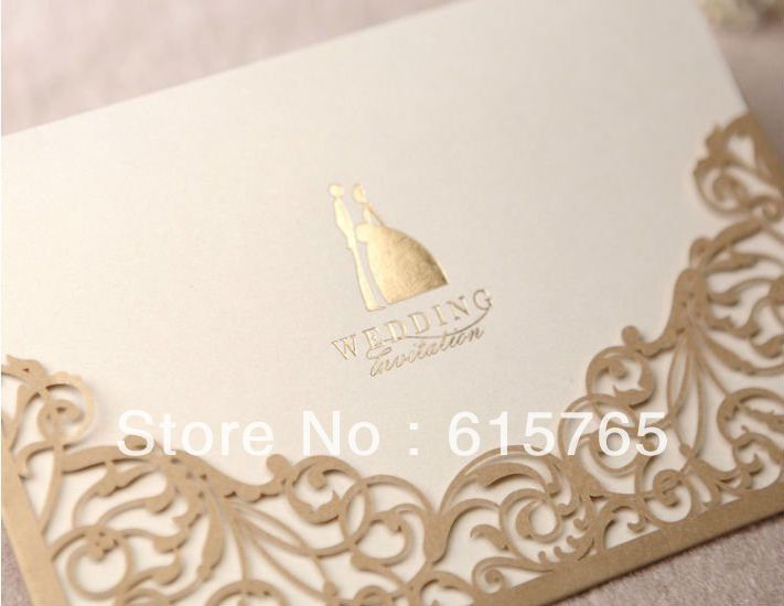 Gorgeous Lace Cut-out Wedding Invitation In Gold