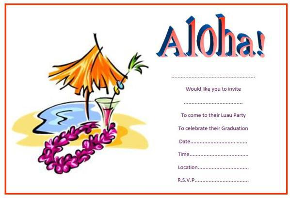 Graduation Luau Pool Party Invitations