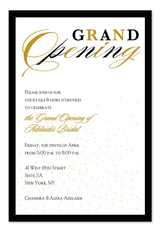 Grand Opening Invitations For Business