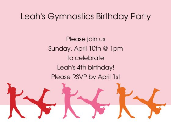 Gymnastic Birthday Invitation Templates