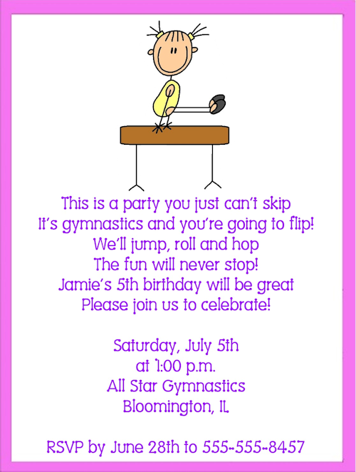 Gymnastics Birthday Invitation Templates