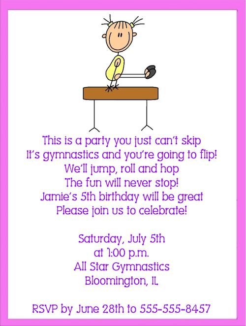 Gymnastic Birthday Invitation Templates – Gymnastic Birthday Invitations