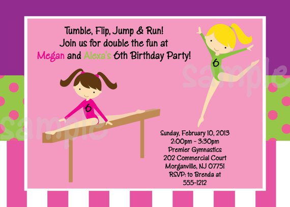 Gymnastics Birthday Invitation Templates Free