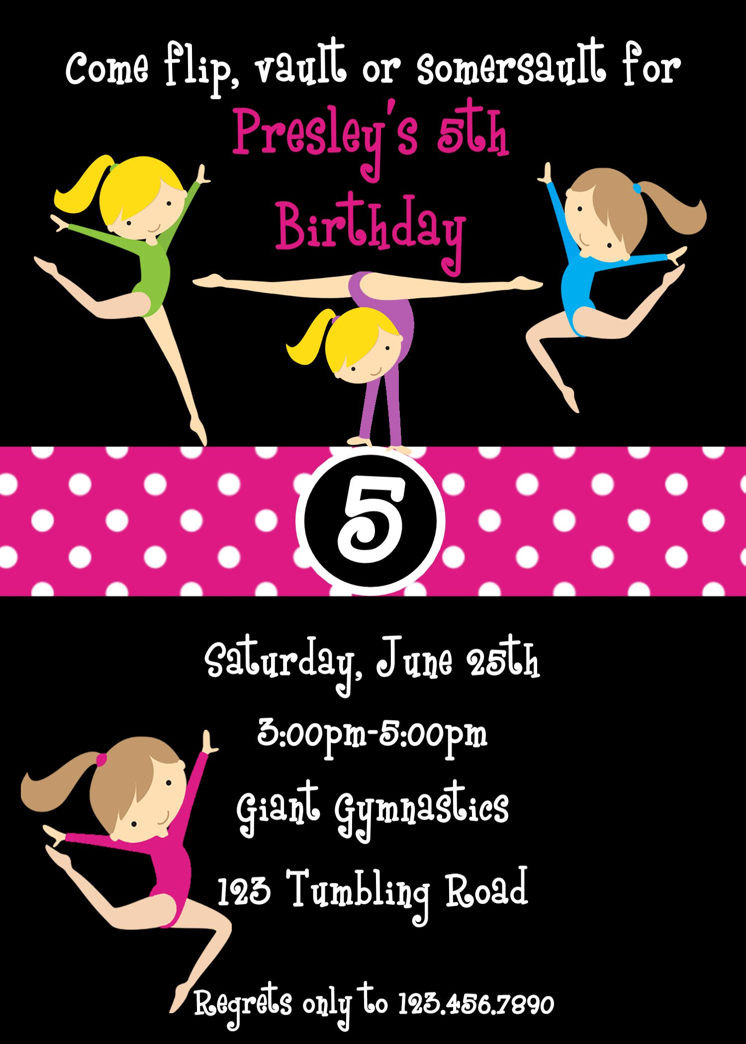 Gymnastics Birthday Party Invitation Templates