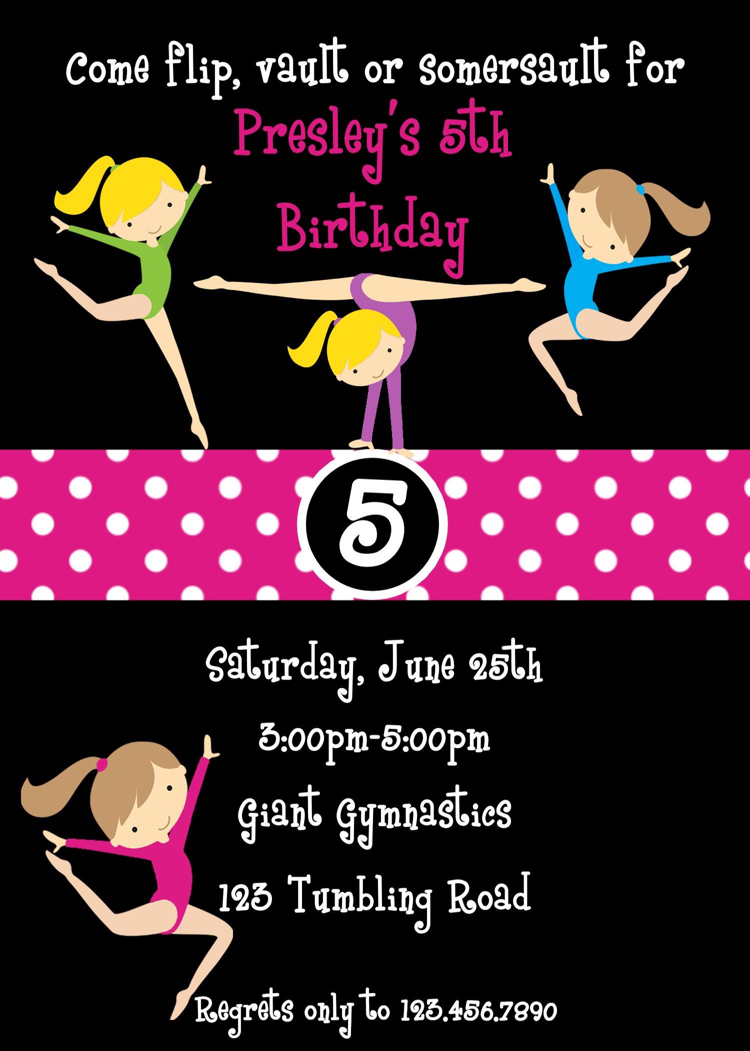 Gymnastic Birthday Invitation Templates - Birthday invitation templates gymnastics