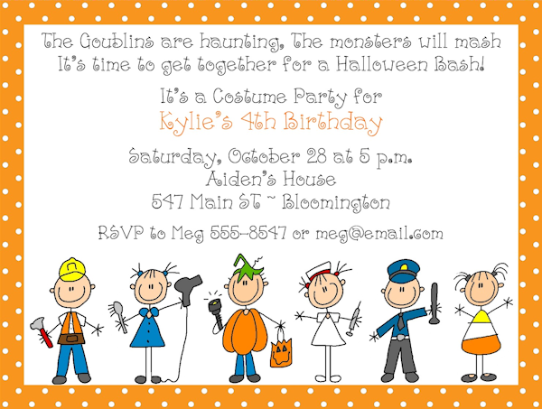 Halloween Costume Birthday Party Invitation Wording
