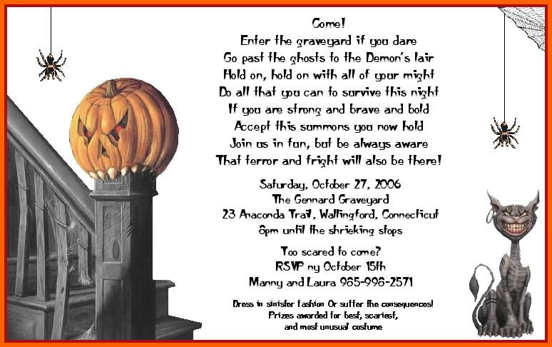 Halloween Party Invitation Wording Ideas