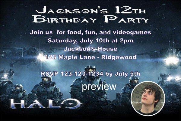 Halo Printable Birthday Invitations