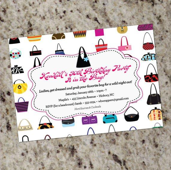 Handbag Party Invitations