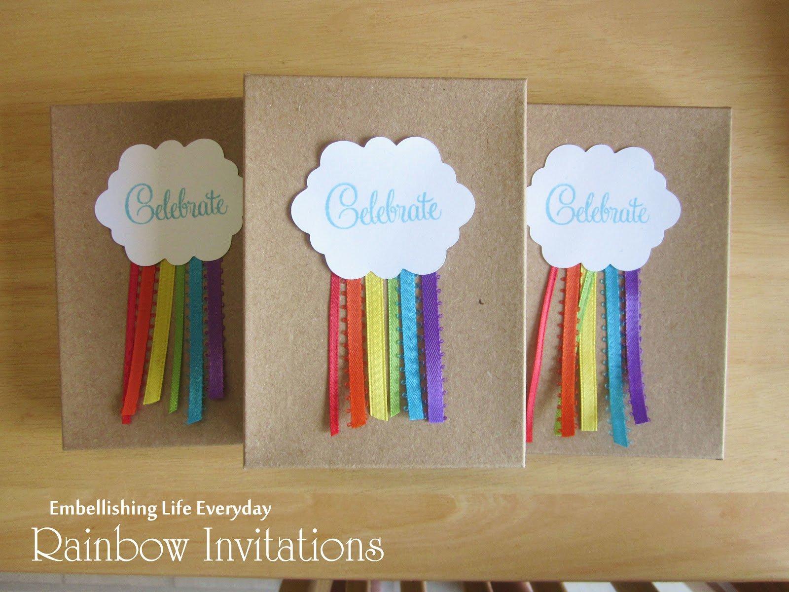 Handmade Rainbow Birthday Party Invitations