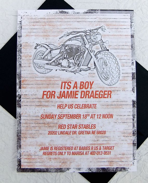Harley Davidson Baby Shower Invitations