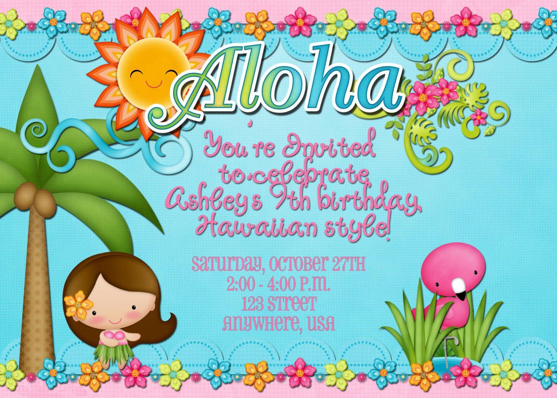 Hawaiian Invitations Wording