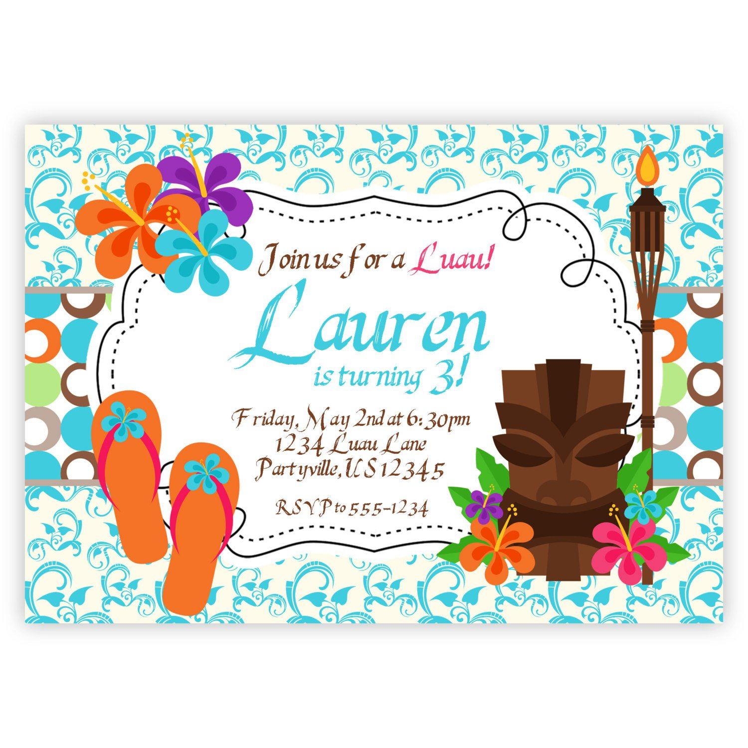 Hawaiian Luau Invitation Blank