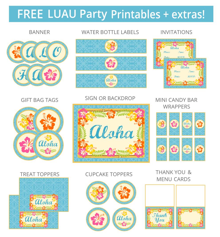 Hawaiian Luau Party Invitations Printable