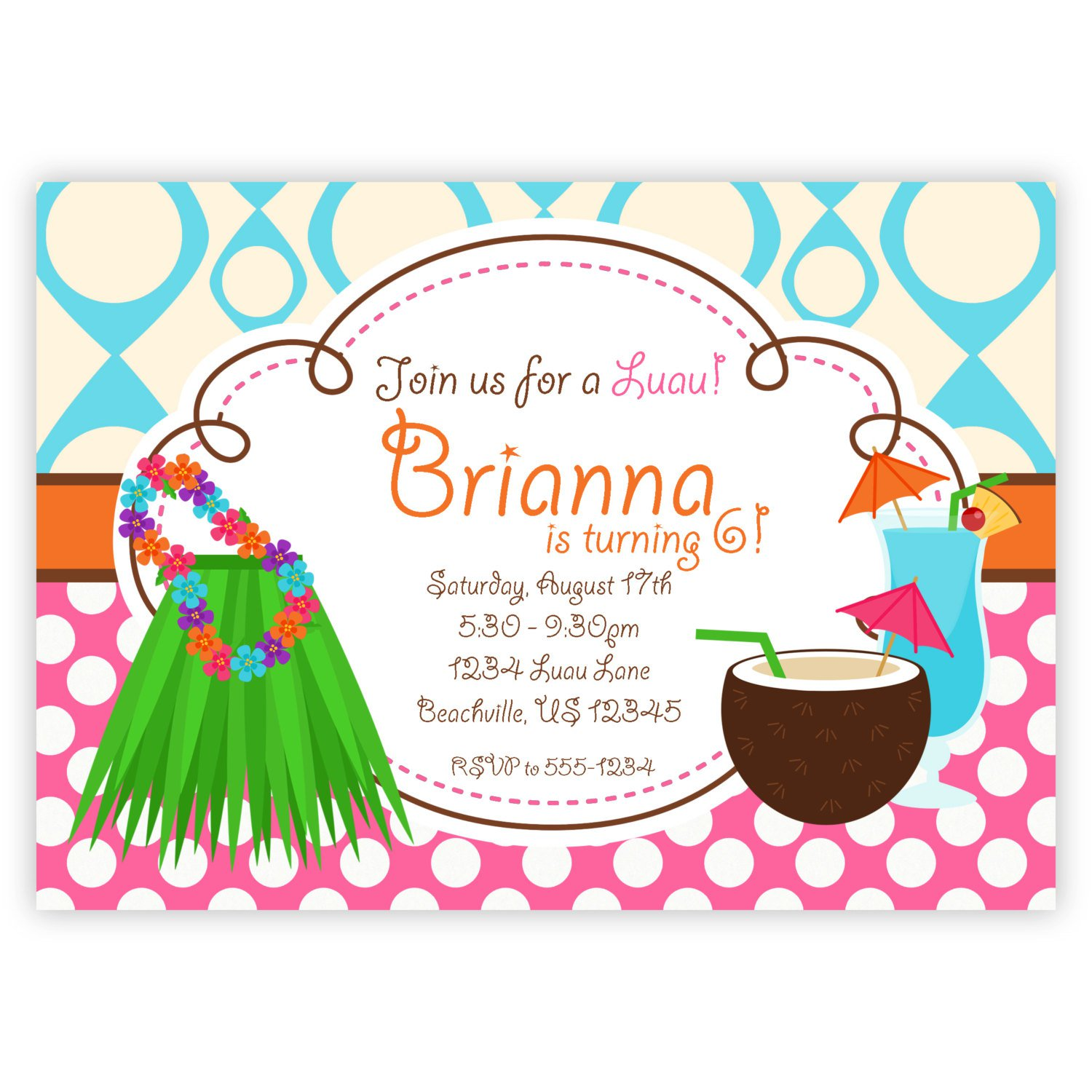 hawaiian luau birthday party invitation wording  broprahshow, invitation samples