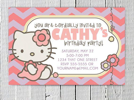 Hello Kitty Custom Birthday Invitations