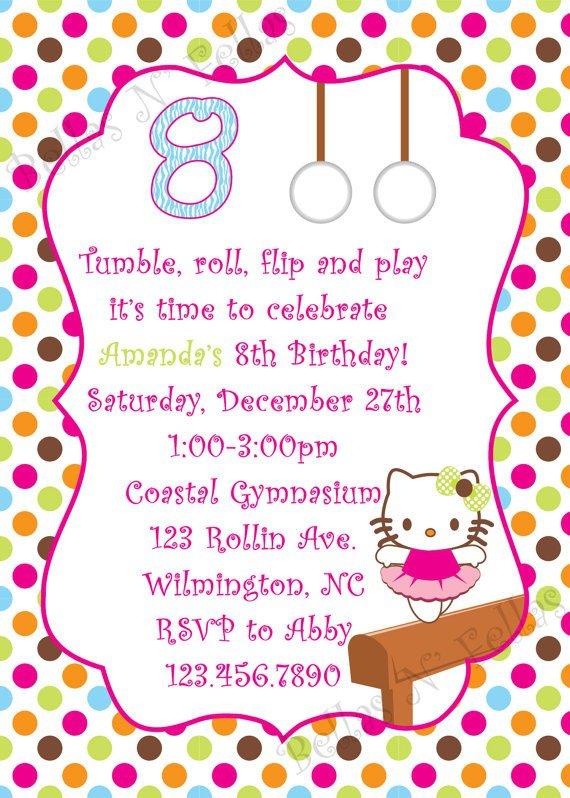 Hello Kitty Gymnastics Invitations