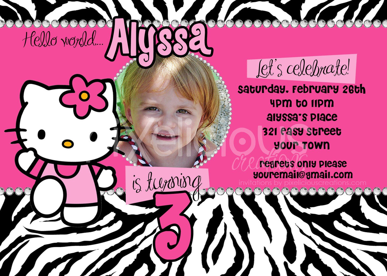 Hello Kitty Zebra Birthday Invitations