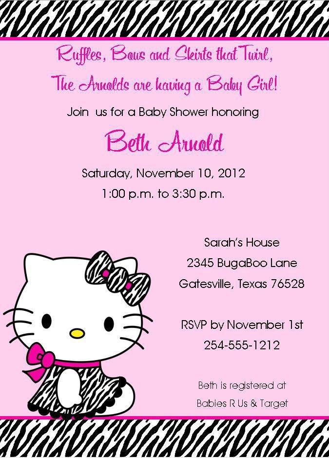 Hello Kitty Zebra Invitations